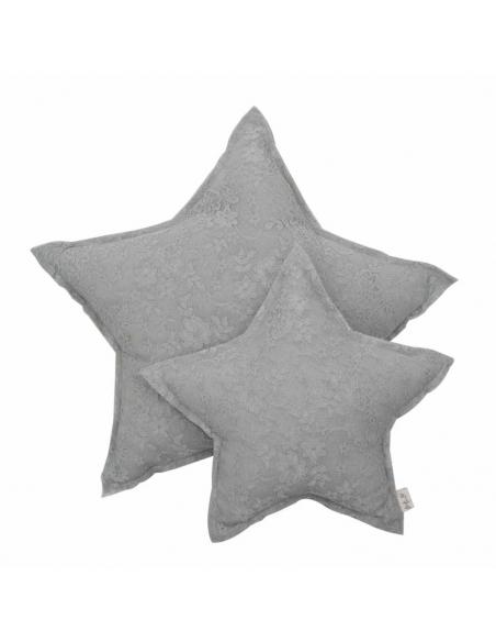 Coussin étoile dentelle, Flower Gris argent