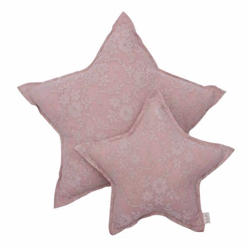 Coussin étoile dentelle, Flower Vieux rose