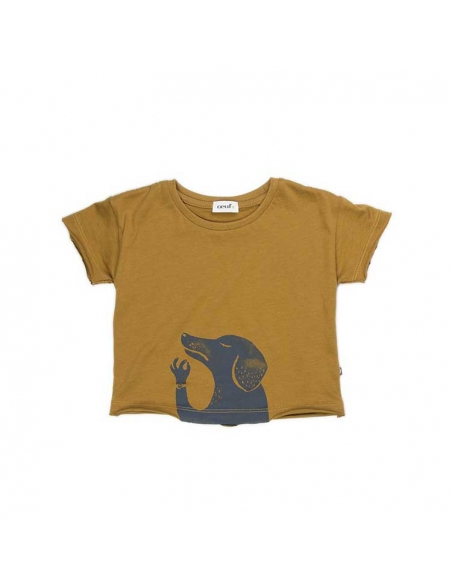 tee-shirt chien moutarde et indigo - oeuf nyc