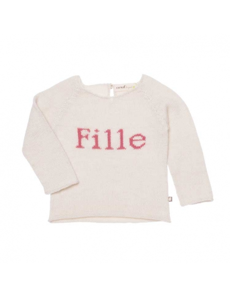 pull fille - blanc et rose - oeuf nyc