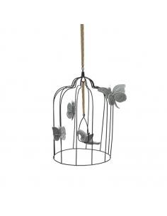 Cage bohémienne et ses oiseaux de velours Gris argent, Large