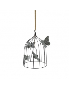 Cage bohémienne et ses oiseaux de velours Gris argent, Medium