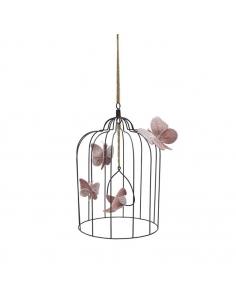 Cage bohémienne et ses oiseaux de velours Vieux rose, Large