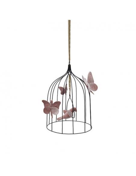 Cage bohémienne et ses oiseaux de velours Vieux rose, Medium