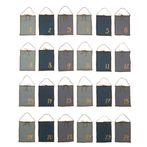 Calendrier de l'Avent, Pochettes tissus Mix Bleus