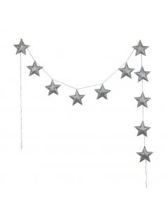 Guirlande d'étoiles scintillantes, Gris argent