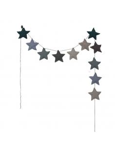 Guirlandes étoiles de coton, Mélange de bleus