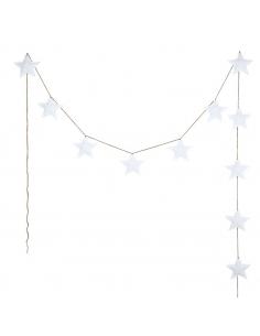 Guirlandes étoiles de coton, Blanc