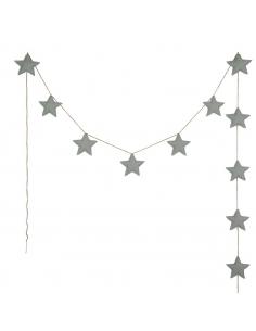 Guirlandes étoiles de coton, Gris argent