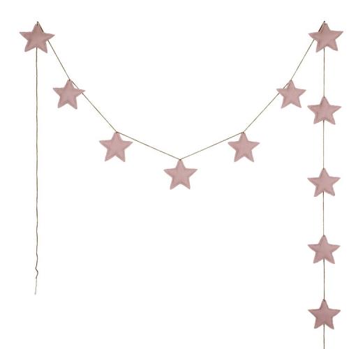 Guirlandes étoiles de coton, Vieux rose