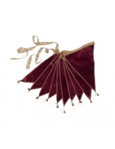 Guirlande de Fanions velours, Rouge macaron