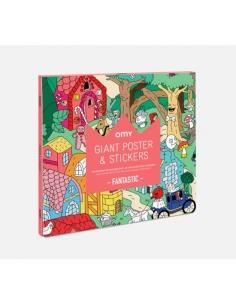 Poster à colorier et stickers - Fantastic - Omy