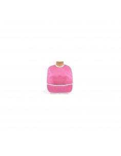 Bavoir en coton enduit - Pois blush rose - Des Fils et des Nuits