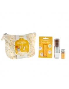 Sparkling pouch - magical brush and lip balm - Organic - Gold - Namaki