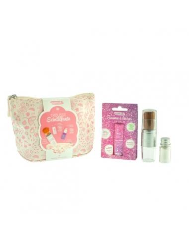 Trousse scintillante rose - Pinceau magique et baume à lèvres - bio - argent - Namaki